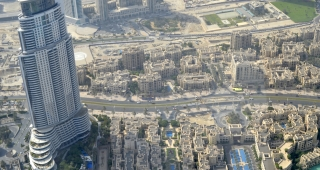 File photo of the hotel, which is pictured as the skyscraper on the left; this view is from the Burj Khalifa. (Image: Danny15.)