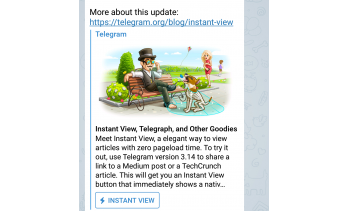 Telegram introduced an instant view button, seen here, to load articles from site including Medium and TechCrunch quickly to save time and data (Image: Telegram.)