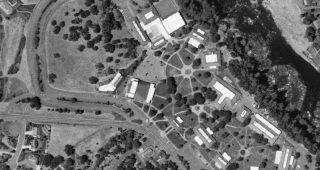 Satellite map of the college campus. (Image: US Geological Survey.)