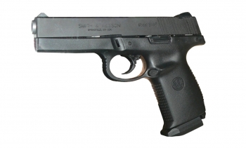 File photo of a handgun. (Image: User:Rama.)