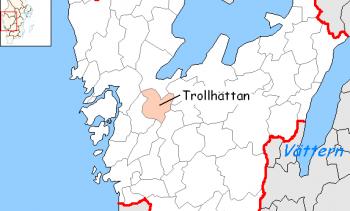 Trollhättan Municipality is located in western Sweden. (Image: Nordelch.)