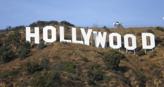 The Hollywood sign as it normally appears. (Image: Oreos.)