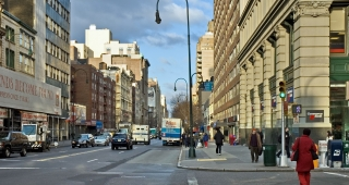 File photo of 14th Street from the northeast corner of Fifth Avenue looking west. New York City. (Image: Leif Knutsen.)