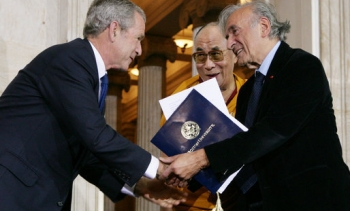 File photo of the Dalai Lama, George W. Bush, and Wiesel in 2007. (Image: Chris Greenburg.)