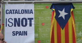 "File photo of ""Catalonia is not Spain"" poster, 2007. (Image: Christian Van Der Henst S..)"