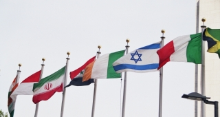 Some of the flags, including Israel's, at the UN's New York headquarters. (Image: Damzow.)