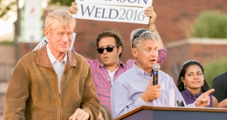 Libertarian presidential nominee Gary Johnson (right) and his running mate William Weld (left) at the campaign's first rally, August 5 in Nevada. (Image: Darron Birgenheier.)