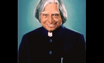 Portrait of former Indian president Dr. APJ Abdul Kalam, also known as the Missile Man of India; 2008. (Image: M. Prasanna Kumar.)