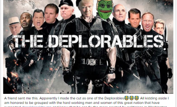 "Screenshot from Donald Trump Jr.'s Instagram account, parodying The Expendables as ""The Deplorables.""   On September 2, the FBI released a report on Clinton's use of a private server for official e-mails. Among the revelations was that Clinton could not r"