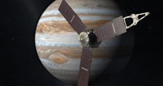 Juno approaching Jupiter; simulation. (Image: NASA.)
